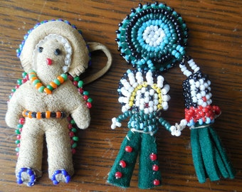 Native American Beaded Miniature Doll Figures