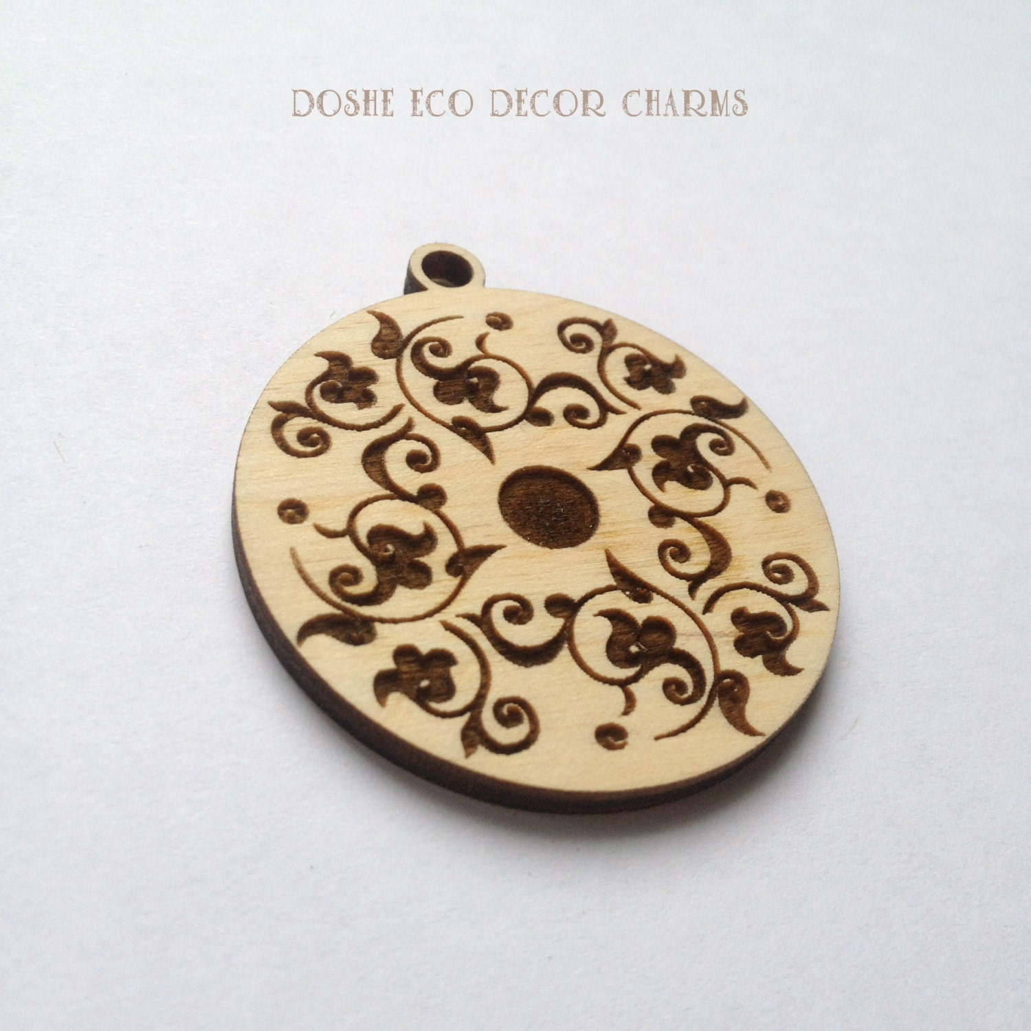 Laser engraved wood pendant with floral motif wood pendants wood 300 aloadofball Gallery