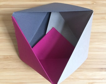 Origami Bowl Ornament || Pink Small