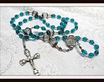 Beautiful 6mm Aqua Rosary