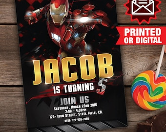 Printed or Digital Iron Man Invitation Printable Iron Man
