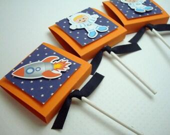 OuterSpace Lollipop Party Favors, Orange et bleu, lot de 20