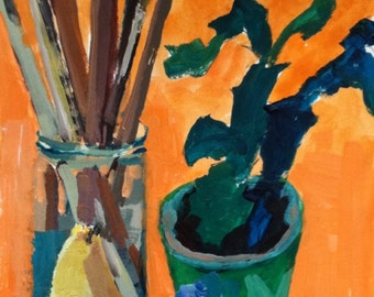 Still life with artist brushes, pear, plant, acrylic on paper, SFA, original art, wall candy, fine art, modernimpressionist,christineparker