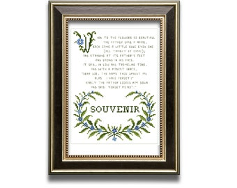 Forget me not poem. Souvenir.  cross stitch pattern PDF. Instant download