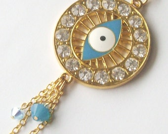 SALE Long Gold Tone Evil Eye Necklace
