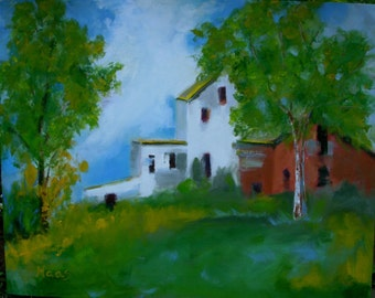 COUNTRY FARM - 16 x 20 - Original Oil Painting - Canvas, Art, Artwork - Barn, Landscape - Shabby Cottage, Farmhouse Chic, Wall Art - Trees