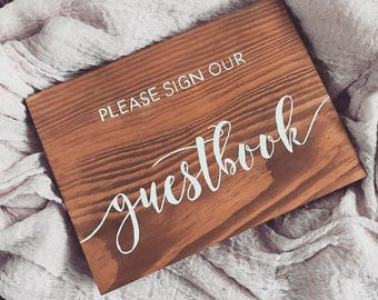 Please sign our guestbook sign , wood sign, personalised wood sign guestbook sign