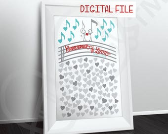 Music Themed Wedding Guestbook Poster or Puzzle theme, Personalized Guest book alternative, DIGITAL FILE