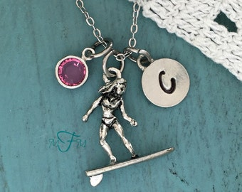 Surfer Girl Charm Necklace, Personalized Necklace, Silver Pewter Surfer Girl Charm, Custom Necklace, Swarovski Crystal birthstone, monogram
