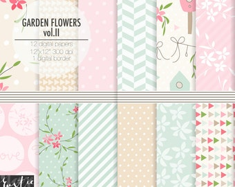 Floral digital paper in pink, blue with birdhouses, shabby chic patterns, spring flowers for nursery decor.  12x12 PNG.