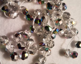 50 6mm Crystal Vitrail AB Czech Glass Faceted Firepolish Beads