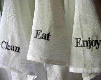 free shipping - Embroidered tea towel - personalized - hostess gift - flour sack towel - kitchen towel - personalized gift - eat - clean