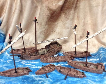 Fleet in a Box Deluxe: Eight ships and boats!!  Handpainted and Rigged. 28mm Table Top Gaming