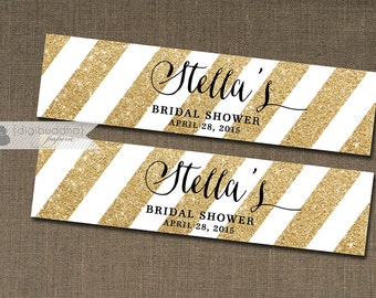 "Gold & Black Water Bottle Labels Drink Label Gold Glitter Stripes Bridal Shower Baby Birthday Party DIY Drink Bottle Labels 8x2"" - Stella"