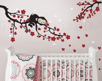 Cherry Blossom Branch Wall Decal with Sleeping Monkey | Monkey Wall Decal for Nursery, Kids, Childrens Room 054