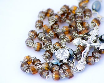 Topaz Glass Cathedral Bead Handmade Catholic Rosary with Hemalyke Our Fathers