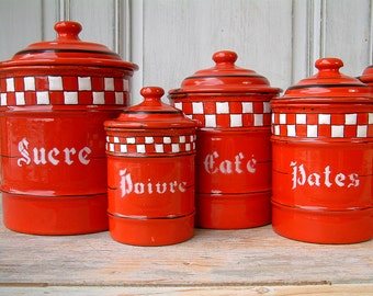 Vintage french enamel kitchen canister set. Red with white check Lustucru frieze. Set of 6. French country. Rustic farmhouse
