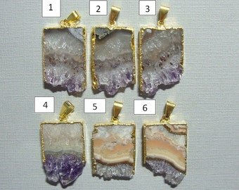 Amethyst Slice Gold Electroplated Pendant, Amethyst Stalacite,Vertical Quality Amethyst Slice Gold Pendant, a12-2