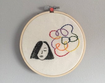 thinking in colour • one of a kind embroidery art • 5x5