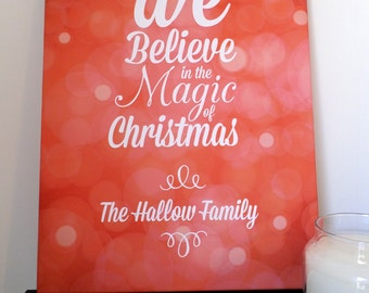 We Believe Personalised Christmas Canvas