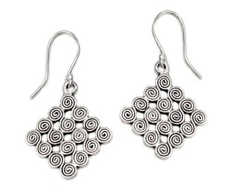 Handmade Ethnic Tribal Sterling Silver Dangle Statement Earrings, Boho Hippie Spirals Earrings, Gift for Her