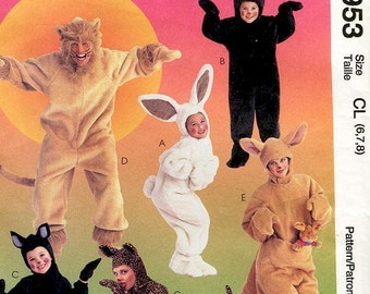 Sz 6/7/8 McCall's 8953 -  Adults and Kids' Animal Costume - Bunny, Bear, Cat, Lion, and Kangaroo Pattern - Easy to Sew