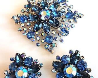 Signed Judy Lee Brooch and Earring Set, Blue & AB Rhinestones, Vintage