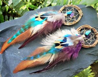 dreamcatcher earrings,feather earrings,mothers day, festivals, boho earrings,festival,turquoise, amethyst, tribal fusion, boho, belly dancer