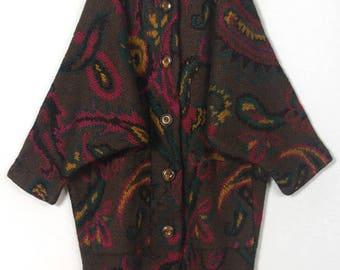 80's Vintage long wool mohair sweater coat