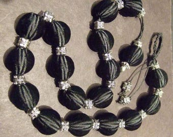 Vintage French silk beads (on wood core) with silver spacers, 23 inches, black silk beads are 27mm.