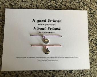 A good friend, A best friend wish bracelets
