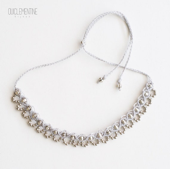 Grey silver boho necklace