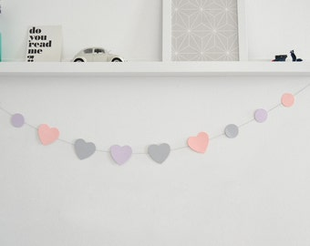 Hearts and circles paper garland