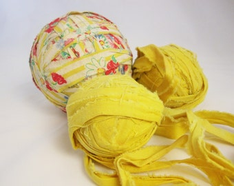 Three Rag Balls - Multi-colored Cloth Rag Ball - One Super Large Rag Ball - Decorate - Rag Rugs, Etc. - Multiple Colors to Warm Up a Winter