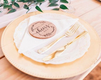 Wedding Favors, Cork Coaster Set, Cheers, Engraved Coasters, Personalized Coasters, Custom Engraved Wedding Coasters --22103-CST1-029