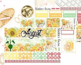 August Monthly Kit 2018 // Sunflowers Monthly Planner Sticker Kit for Erin Condren // Planner Stickers