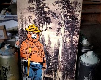 Smokey Bear Mixed Media Graffiti Pop Art Painting on Photo Transfer Original Art on Handmade Canvas Home Decor Camping