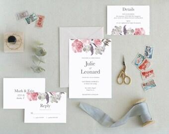 Botanical Wedding Invites. Modern Wedding Invitation Templates. Minimal Wedding Invitations. Printable Wedding Invitations. Boho Chic. -16