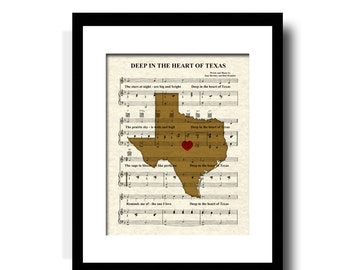 Deep In The Heart of Texas Song Lyric Sheet Music Art Print, Texas State Song Art Print, Texas Map Art Print, Texas Art Print