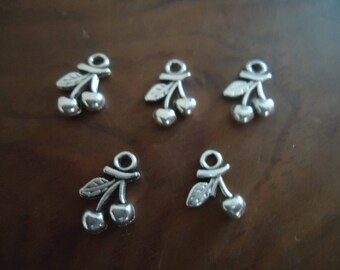 set of 5 BEAD cherries - antique silver charms