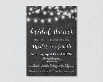 Bridal Shower Invitation Printable or Printed - Chalkboard Bridal Shower Invites, Rustic Chalkboard String Lights Shower Invitations 0005