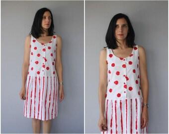 Vintage 1980s Dress | 80s Minimalist Dress | 80s Dress | 1980s Cotton Dress | 1980s Sun Dress | Striped Dress - (small)
