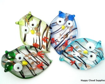 Hoot for Owls Foil Glass Pendant... 2pcs