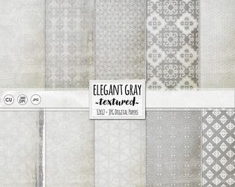 Silver Anniversary Background Papers, Neutral & Elegant Grey Digital Papers, Slate, Nickel, Chic Gray Pattern Paper Download