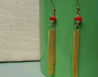 THE TASSEL chain goldplated red bead long dangle earrings jewelry