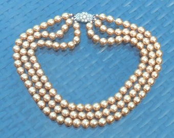 Vintage Faux Pearls Necklace Rich Creamy Golden Tone Pearly Beads Diamante Rhinestone Set Silver Hooked Clasp Pre WW11 Germany 1930s -1940s
