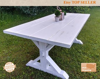 Beautiful White Distressed Farm House Table, Trestle Table, Distressed Table,  Distressed, Whitewash,
