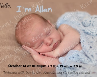 Baby's Birth Announcement with Photo