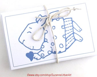 Set of FOUR Gift Cards with Envelopes, Cat, Pig, Bear, Bunny