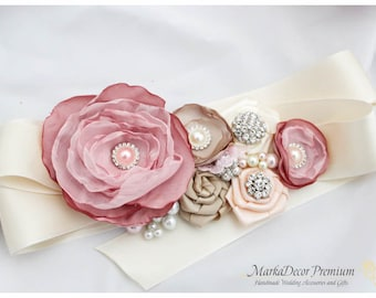 Bridal Sash / Custom Wedding Bridesmaids Belt with Brooches, Beads, Pearls, Jewels in Ivory, Champagne, Nude, Tan, Cream, Blush Pink